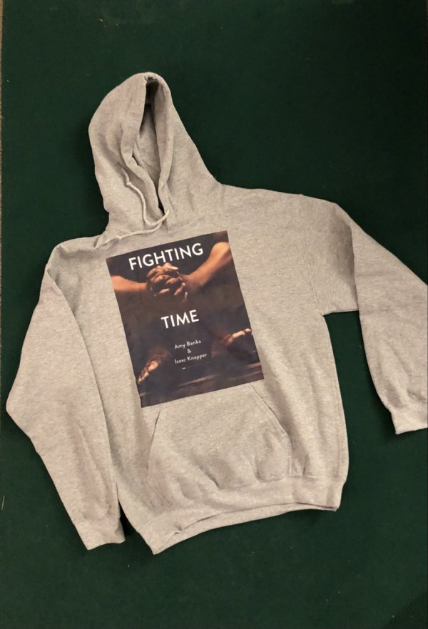 Grey Hooded Sweatshirt, 'Fighting Time' Book Cover on Front